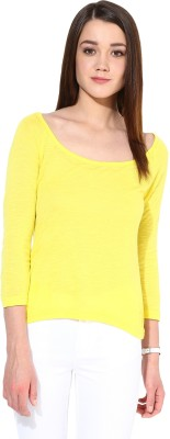 Trend18 Casual 3/4 Sleeve Solid Women's Yellow Top
