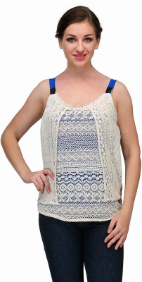 Samayra Casual Sleeveless Woven Women's Blue, White Top