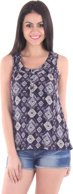 SS Casual Sleeveless Geometric Print Women's Blue Top