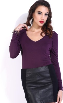 D Muse by DressBerry Casual Full Sleeve Solid Women's Purple Top