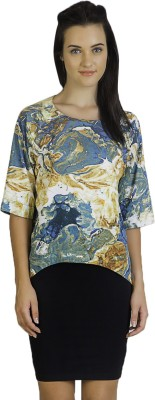 Vivante by VSA Casual 3/4 Sleeve Printed Women's Multicolor Top