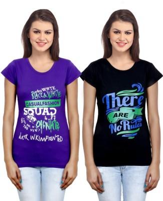 IndiWeaves Casual Short Sleeve Printed Girl's Purple, Black Top