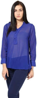 La Firangi Casual Full Sleeve Solid Women's Blue Top at flipkart