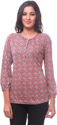 La Divyyu Casual 3/4 Sleeve Printed Women's Red Top