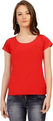 Folkswear Casual Short Sleeve Solid Women's Red Top