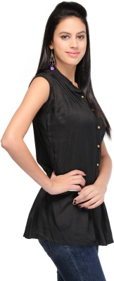 Shree Krishna Enterprise Party Sleeveless Solid Girl's Black Top
