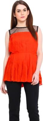 Ridress Casual Sleeveless Solid Women's Orange, Black Top