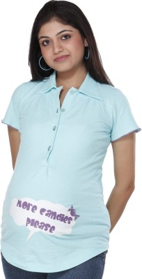 Morph Maternity Casual Short Sleeve Printed Women's Blue Top at flipkart