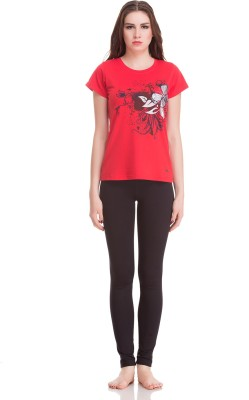 Private Lives Casual Short Sleeve Printed Women's Red Top