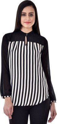 Colors Couture Casual Full Sleeve Striped Women's Black Top