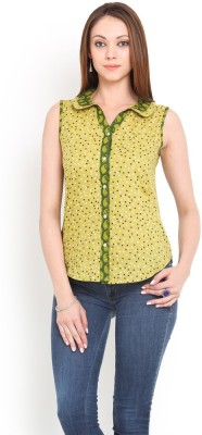 La Arista Casual Sleeveless Printed Women's Green Top