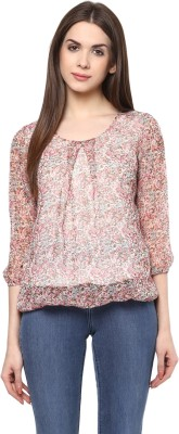 color cocktail Casual 3/4 Sleeve Printed Women's Beige Top