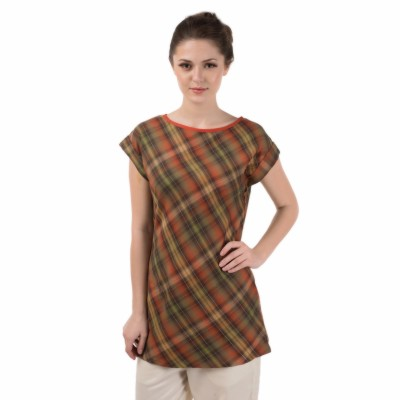Le Luxe Casual Sleeveless Checkered Women's Green, Orange Top
