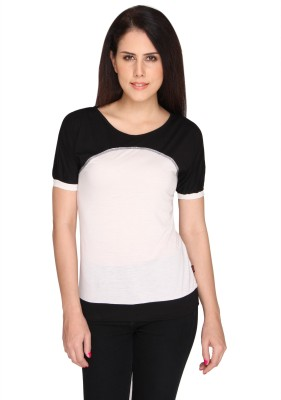 Bedazzle Casual Short Sleeve Solid Women's Black, White Top at flipkart