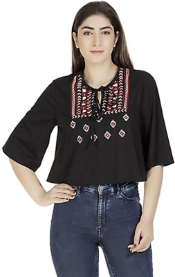 Gudi Casual 3/4 Sleeve Embroidered Women's Black Top