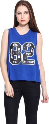 Hook & Eye Casual Sleeveless Printed Women's Blue Top
