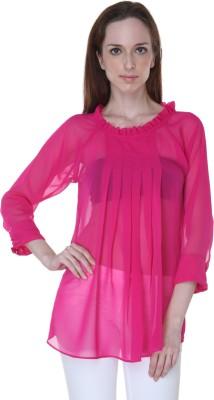 Rigoglioso Formal 3/4 Sleeve Solid Women's Pink Top