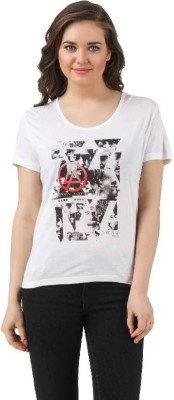 Linkin Park Casual Short Sleeve Printed Women's White Top