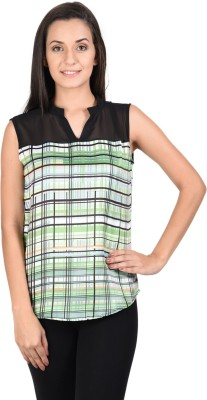 Whistle Casual Sleeveless Geometric Print Women's Green, Black Top