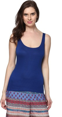 Trend18 Casual Sleeveless Solid Women's Blue Top