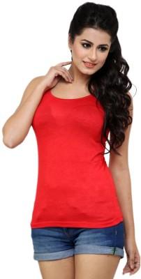 Falguni Fashion Beach Wear, Casual, Festive, Formal, Lounge Wear, Party, Sports, Wedding Sleeveless Solid Women's Red Top