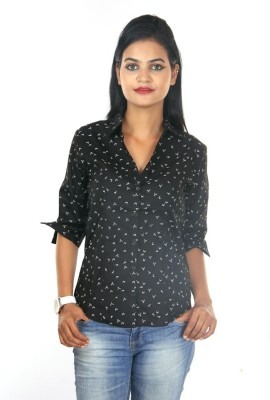 Shop Avenue Casual 3/4 Sleeve Printed Women's Black Top