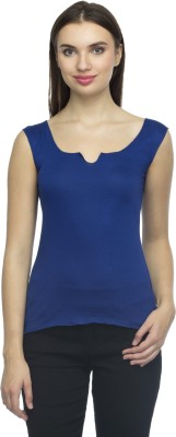 Bantry Casual Sleeveless Solid Women's Blue Top