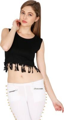 Madaam Party, Casual, Beach Wear, Lounge Wear Sleeveless Solid Women's Black Top