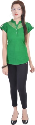 Fantasy Ika Casual Short Sleeve Self Design Women's Green Top