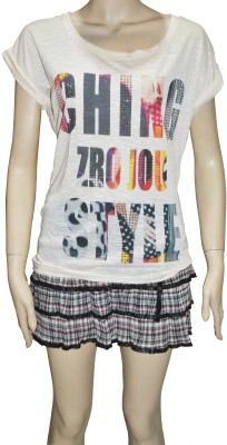 TrendBAE Casual Short Sleeve Printed Women's White Top