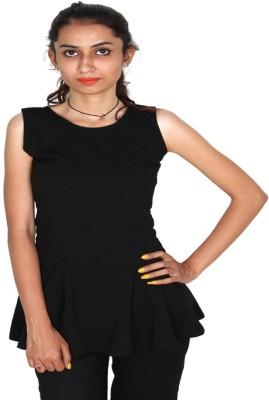 Vanya Enterprises Casual Sleeveless Solid Women's Black Top