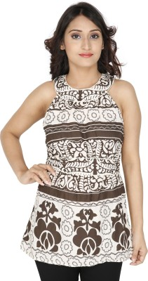 Franclo Casual Sleeveless Floral Print Women's Beige, Brown Top
