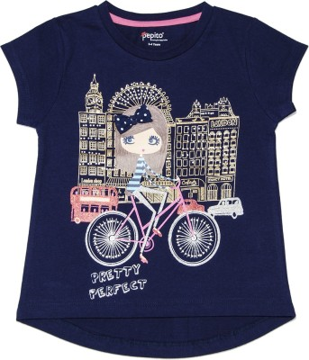 Pepito Party Short Sleeve Printed Girl's Blue Top