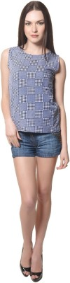 Visach Casual Sleeveless Printed Women's Blue Top