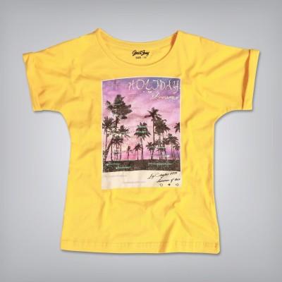 Gini & Jony Casual Short Sleeve Printed Girl's Yellow Top