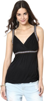 Citrine Casual Sleeveless Solid Women's Black Top