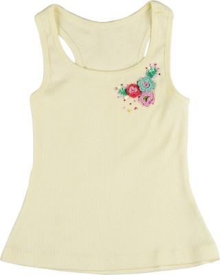 Addyvero Casual Sleeveless Solid Baby Girl's Yellow Top