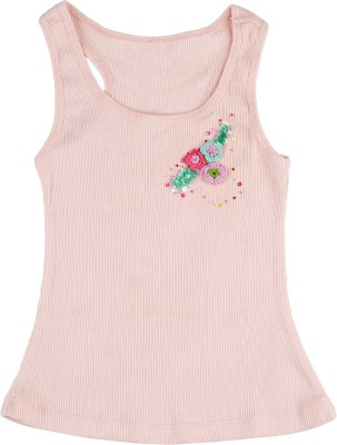 Addyvero Casual Sleeveless Solid Baby Girl's Pink Top