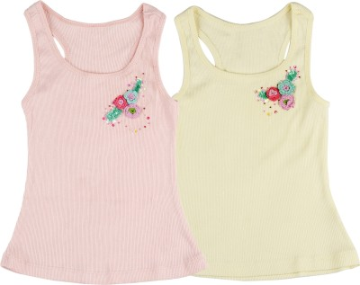Addyvero Casual Sleeveless Applique Baby Girl's Multicolor Top