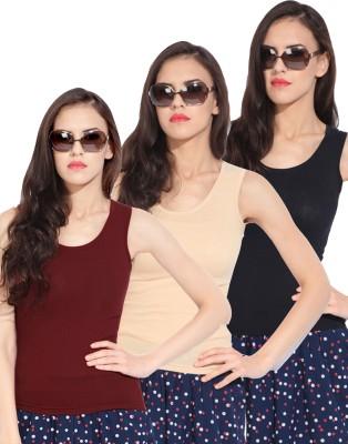 Rham Casual Sleeveless Solid Women's Beige, Black, Maroon Top