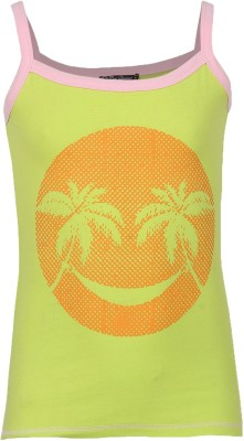 Cool Quotient Casual Sleeveless Printed Girl's Green Top