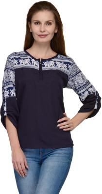 Luv Valentina Casual 3/4 Sleeve Printed Women's Multicolor Top
