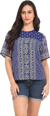 Ama Bella Casual Short Sleeve Printed Women's Blue Top
