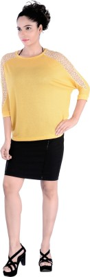 Divaz Fashion Casual, Party 3/4 Sleeve Solid Women's Yellow Top