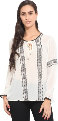 Honey & B Casual Full Sleeve Embroidered Women,s White Top