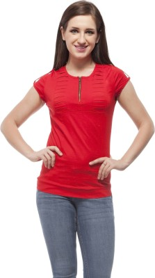 Peptrends Casual Cap sleeve Solid Women's Red Top