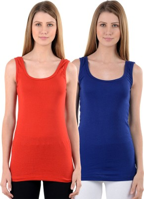 NumBrave Casual Sleeveless Solid Women's Red, Blue Top