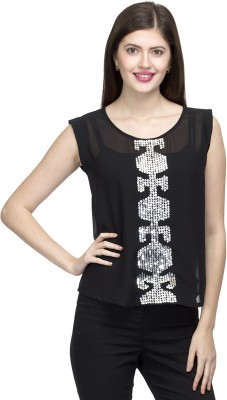 One Femme Party, Wedding Sleeveless Solid Women,s Black Top