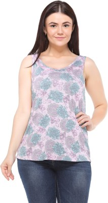 MOD PLUSS Casual Sleeveless Printed Women's Pink Top