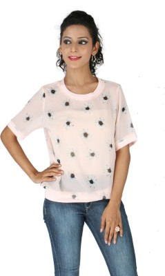 Life by Shoppers Stop Casual Short Sleeve Floral Print Women's Pink Top
